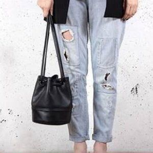 Bags - Drawstring faux leather bag